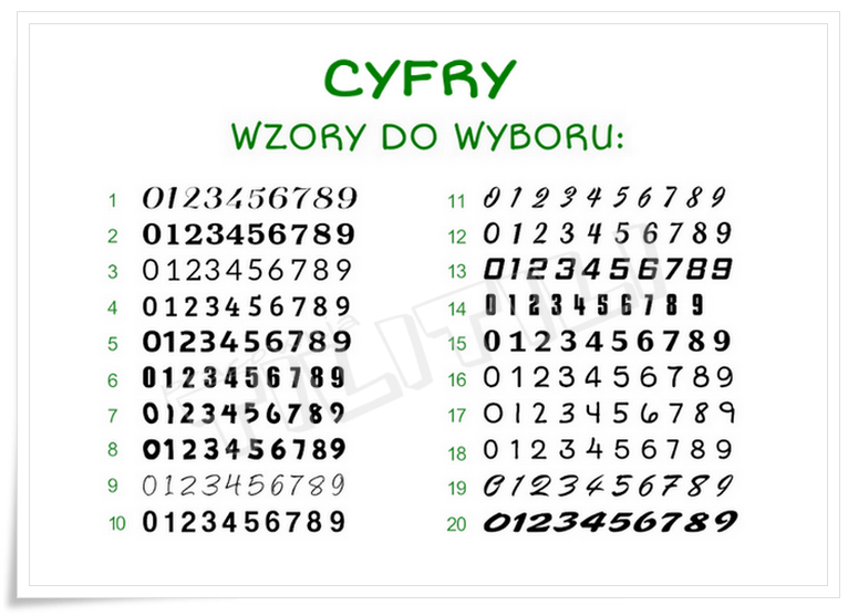 CYFRY (różne wzory do wyboru)